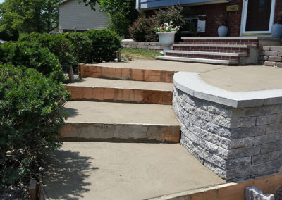 Steps retaining wall during job phase 2